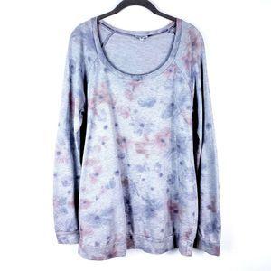 SPLENDID Large Floral Print Tunic Sweatshirt Gray